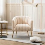 New 28″ Velvet Tufted Upholstered Chair with Curved Backrest and Metal Legs, for Living Room, Bedroom, Dining Room, Office – Beige