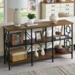 New 60″ Industrial Vintage Console Table with 3-Layer Storage Shelf, for Entrance, Hallway, Dining Room, Kitchen – Brown