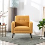 New 30″ Linen Upholstered Chair with Tufted Backrest and Metal Legs, for Living Room, Bedroom, Dining Room, Office – Yellow