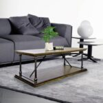 New 47.2″ Rectangle Wooden Coffee Table, with Storage Shelf, and Metal Frame, for Kitchen, Restaurant, Office, Living Room, Cafe – Brown