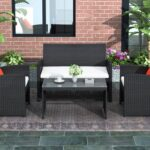 New 4 Pieces Outdoor Wicker Furniture Set, Including 2 Armchairs, Loveseat sofa, Tempered Glass Coffee Table, and 3 Cushions, for Garden, Terrace, Porch, Poolside – Black