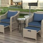 New 5 Pieces Outdoor Rattan Furniture Set, Including 2 Armchairs, 2 Stools, and Coffee Table, for Garden, Terrace, Porch, Poolside – Blue