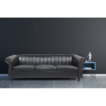 """New 84"""" 3-Seat PU Leather Sofa with Reversible Cushions, and Wooden Frame, for Living Room, Bedroom, Office, Apartment – Black"""