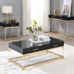 New ACME Adiel 38″ Console Table with 2 Storage Drawers, and Metal Frame, for Entrance, Hallway, Dining Room, Kitchen – Black