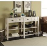 New ACME Galileo 60″ Wooden Console Table with 4 Storage Drawers, and 2-Layer Open Shelf, for Entrance, Hallway, Dining Room, Kitchen – Cream