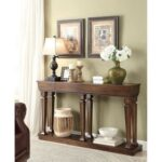 New ACME Garrison 60″ Wooden Console Table with Bottom Shelf, for Entrance, Hallway, Dining Room, Kitchen – Oak