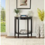 New ACME Justino 26″ Half-Moon Shape Console Table with Storage Shelf, for Entrance, Hallway, Dining Room, Kitchen – Black