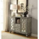 New ACME Velika 48″ Wooden Console Table with 2 Storage Drawers, and 2 Doors, for Entrance, Hallway, Dining Room, Kitchen – Gray