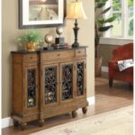 New ACME Vidi 43″ Wooden Console Table with 3 Storage Drawers, and 4 Doors, for Entrance, Hallway, Dining Room, Kitchen – Oak
