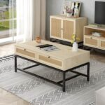 New 45.67″ Rectangle Wooden Coffee Table, with 2 Storage Drawers, and Metal Frame, for Kitchen, Restaurant, Office, Living Room, Cafe – Brown