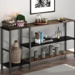 New 52″ Console Table with Wooden Tabletop and Metal Frame, for Entrance, Hallway, Dining Room, Kitchen – Black + Brown