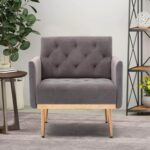 New COOLMORE 1-Seat Velvet Upholstered Sofa Chair with Metal Legs, for Living Room, Bedroom, Office, Apartment – Gray