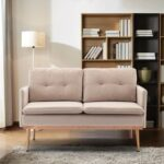 New COOLMORE 55.91″ 2-Seat Velvet Upholstered Sofa with Plywood Frame, and Stainless Feet, for Living Room, Bedroom, Office, Apartment – Beige