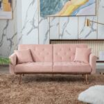 New COOLMORE  2-Seat Velvet Upholstered Sofa Bed with Metal Feet, and Adjustable Backrest, for Living Room, Bedroom, Office, Apartment – Pink