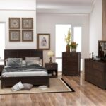 New Classic 6 Pieces Wooden Bedroom Furniture Set, Including King-Size Platform Bed, 2 Nightstands, Dresser, Chest, and Mirror – Brown