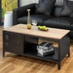 New 43″ Rectangle Coffee Table, with Storage Shelf and Cabinet, for Kitchen, Restaurant, Office, Living Room, Cafe – Black