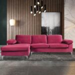 New 5-Seat Microfiber Upholstered L-shaped Sectional Sofa with Wooden Frame, and Metal Feet, for Living Room, Bedroom, Office, Apartment – Red