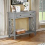 New Coventry 32″ Wooden Console Table with 1 Storage Drawer, and Bottom Shelf, for Entrance, Hallway, Dining Room, Kitchen – Gray