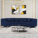 New 139.7″ 4-Seat Velvet Upholstered Curved Symmetrical Sectional Sofa with 6 Pillows, Wooden Frame, and Metal Legs, for Living Room, Bedroom, Office, Apartment – Navy Blue