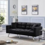 New 74.8″ Velvet Upholstered Sofa Bed with 2 Pillows, Tufted Backrest, and Metal Legs, for Living Room, Bedroom, Office, Apartment – Black