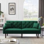 New 74.8″ Velvet Upholstered Sofa Bed with 2 Pillows, Tufted Backrest, and Rubber Wood Legs, for Living Room, Bedroom, Office, Apartment – Green