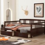 New Full Size Daybed with 2 Storage Drawers, and Wooden Slats Support, Space-saving Design, No Box Spring Needed – Espresso