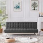 New 70.08″ Fabric Upholstered Convertible Sofa Bed with Wooden Frame, and Metal Legs, for Living Room, Bedroom, Office, Apartment – Dark Gray