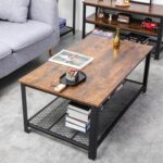 New 41.7″ Rectangle Wooden Coffee Table, with Storage Shelf, and Metal Frame, for Kitchen, Restaurant, Office, Living Room, Cafe – Brown