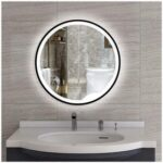 New 19.7″ Round Wall-mounted LED Mirror, for Bathroom, Bedroom, Entrance, Powder Room – Black