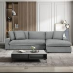 New 79.13″ 3-Seat Polyester Upholstered Sectional Sofa with Right Hand Chaise, Wooden Frame, and Plastic Legs, for Living Room, Bedroom, Office, Apartment – Gray