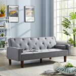 New 71.65″ Polyester Fabric Upholstered Sofa Bed with Wooden Frame, for Living Room, Bedroom, Office, Apartment – Gray