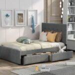 New Full-Size Linen Upholstered Platform Bed Frame with 2 Storage Drawers, Headboard and Wooden Slats Support, No Box Spring Needed (Only Frame) – Gray