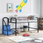New Twin-Size Loft Bed Frame with 2 Storage Stairs, and Metal Slats Support, Space-saving Design, No Box Spring Needed – Blue