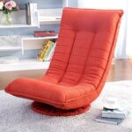 New Orisfur Polyester Upholstered 360 Degree Swivel Folding Sofa Chair, with Metal Frame, for Living Room, Bedroom, Office, Apartment – Orange