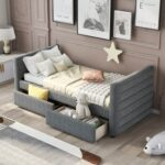 New Twin-Size Linen Upholstered Daybed with 2 Storage Drawers, Headboard and Wooden Slats Support, No Box Spring Needed (Only Frame) – Gray