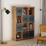 New 42.91″ 12-Compartment Design MDF Bookcase with 6 Storage Cabinets and 6 Open Shelves, for Living Room, Bedroom, Office, Hallway – Natural