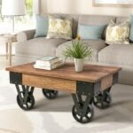 New U-STYLE 35.43″ Trolley-Shaped Wooden Coffee Table, with Wheels, for Kitchen, Restaurant, Office, Living Room, Cafe – Brown