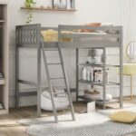 New Twin-Size Loft Bed Frame with Storage Shelves, and Wooden Slats Support, Space-saving Design, No Box Spring Needed – Gray