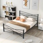 New Queen-Size Platform Bed Frame with Headboard and Metal Slats Support, No Box Spring Needed (Only Frame) – Black