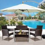 New TOPMAX 4 Pieces Outdoor Wicker Furniture Set, Including 2 Armchairs, 2 Loveseat Sofas, Tempered Glass Coffee Table, and 3 Cushions, for Garden, Terrace, Porch, Poolside – Brown