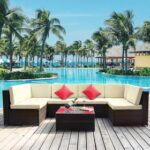 New TOPMAX 7 Pieces Outdoor Rattan Furniture Set, Including Coffee Table,4 Single Sofa Chairs, 2 Corner Sofa Chairs, and 14 Cushions, for Garden, Terrace, Porch, Poolside – Beige
