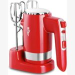 New Handheld Electric Mixer 300W Power 5 Speeds Fast Heat Dissipation, Overheat Protection with Storage Base – Red