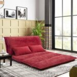 New Orisfur 43.3″ Polyester Fabric Folding Lazy Sofa Bed with 2 Pillows, and Metal Frame, for Living Room, Bedroom, Office, Apartment – Red