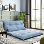 New Orisfur 43.3″ Polyester Fabric Folding Lazy Sofa Bed with 2 Pillows, and Metal Frame, for Living Room, Bedroom, Office, Apartment – Blue