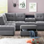 New Orisfur 104″ Suede Upholstered Sectional Sofa with Chaise, Ottoman, Wooden Frame, and Cup Holders, for Living Room, Bedroom, Office, Apartment – Gray