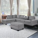 New Orisfur 112″ Fabric Upholstered Convertible Sectional Sofa with Storage Ottoman, Wooden Frame, and Two Cup Holders, for Living Room, Bedroom, Office, Apartment – Gray