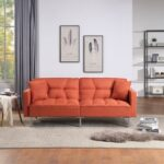 New Orisfur 74″ Linen  Upholstered Sofa Bed with 2 Pillows, Tufted Backrest, and Metal Legs, for Living Room, Bedroom, Office, Apartment – Orange