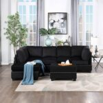 New Orisfur 104.5″ Velvet Upholstered Sectional Sofa with Storage Ottoman, and Wooden Frame, for Living Room, Bedroom, Office, Apartment – Black