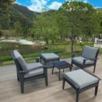 New 5 Pieces Outdoor Rattan Furniture Set, Including 2 Chairs, 2 Ottomans, and Coffee Table, for Garden, Terrace, Porch, Poolside, Beach – Gray