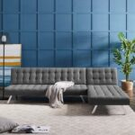 New 100″ 4-Seat Linen Upholstered L-shaped Sectional Sofa Bed with Wooden Frame, and Metal Legs, for Living Room, Bedroom, Office, Apartment – Gray